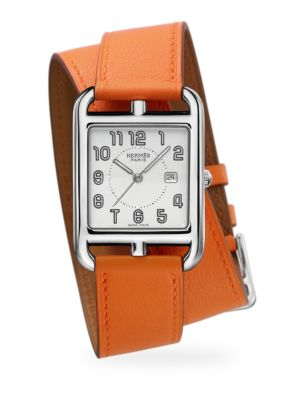 Herm S Cape Cod Stainless Steel Leather Double Wrap Watch