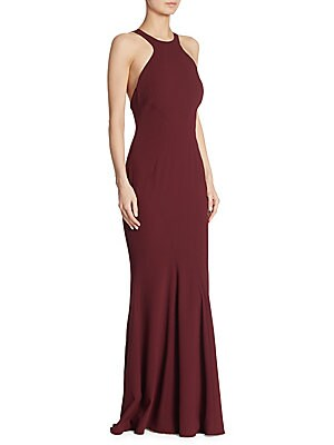 """Image of Elegant mermaid gown featuring racerback style Halterneck Sleeveless Concealed back zip About 64"""" from shoulder to hem Polyester/spandex Dry clean Imported Model shown is 5'10"""" (177cm) wearing US size 2. Dress Collectio - Modern Evening. ZAC Zac Posen. Co"""