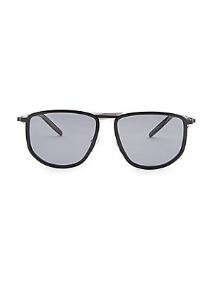 Image of Classic frame designed in a navigator silhouette 58mm lens width; 16mm bridge width; 145mm temple length 100% UV protection Solid lens Metal/zyl Made in Japan. Men Accessories - Men Sunglasses. Barton Perreira.