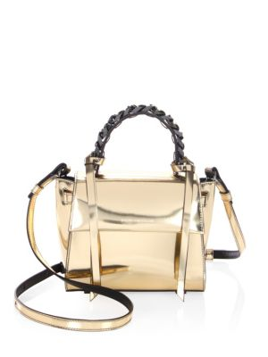 Mini Angel Shine Metallic Leather Satchel by Elena Ghisellini