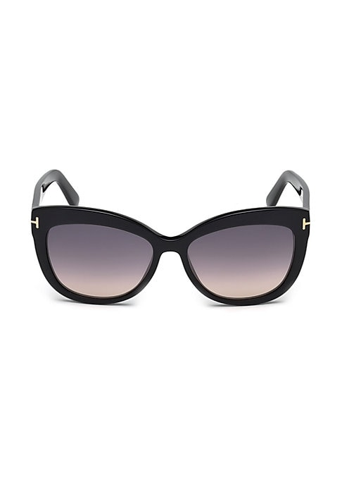 Image of Cat eye sunglasses accented with letter T on temple.56mm lens width; 16mm bridge width; 140mm temple length.100% UV protection. Gradient lenses. Saddle nose pad. Case and cleaning cloth included. Acetate. Made in Italy.