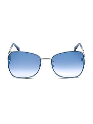 Image of On-trend sunglasses with twisted metal temple 58mm lens width; 17mm bridge width; 135mm temple length 100% UV protection Flash lenses Adjustable nose pads Case and cleaning cloth included Metal Made in Italy. Soft Accessorie - Sunglasses. Cavalli. Color: