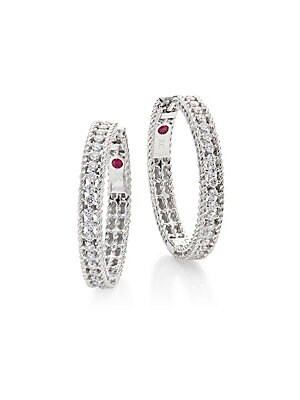 "Image of From the Symphony Collection Large braided hoop earring inset with radiant pavé Diamond, 0.45 tcw 18K white gold Diameter, 0.75"" Signature synthetic ruby detail at interior Hinged post back Made in Italy. Fine Jewelry - Roberto Coin Asset. Roberto Coin. C"