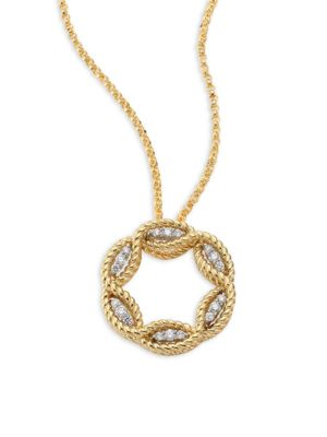 Barocco Diamond & 18 K Yellow Gold Pendant Necklace by Roberto Coin