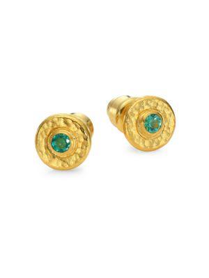 Gurhan 24K Gold Emerald Stud Earrings