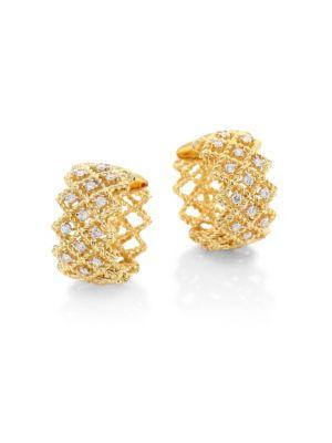 "New Barocco Diamond & 18 K Yellow Gold Hoop Earrings/0.7"" by Roberto Coin"