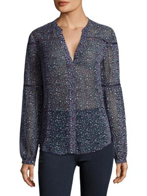 Marbella Floral Print Silk Blouse by PAIGE