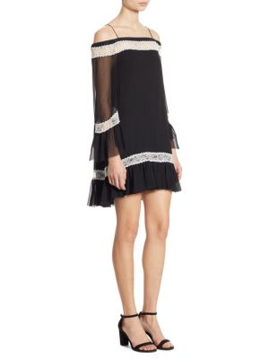 Buy Alice + Olivia Willie Cold-Shoulder Bell Sleeve Silk Dress online with Australia wide shipping