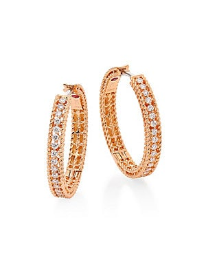 "Image of From the Symphony Collection Blushing braided hoop earring inset with diamond pavé Diamond, 0.45 tcw 18K rose gold Diameter, 0.75"" Signature synthetic ruby detail at interior Hinged post back Made in Italy. Fine Jewelry - Roberto Coin Asset. Roberto Coin."
