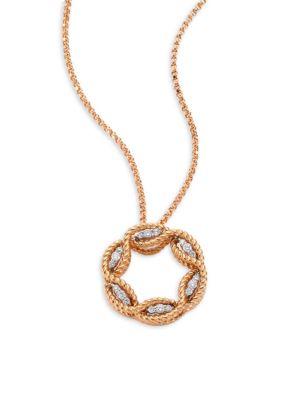 Barocco Diamond & 18 K Rose Gold Pendant Necklace by Roberto Coin