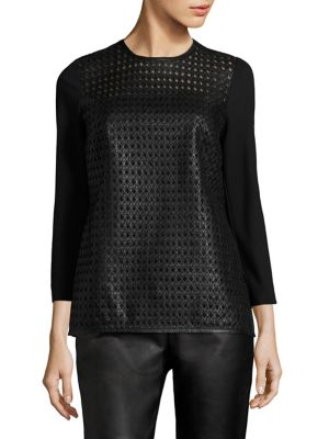 Linda Leather-Front Jersey Top by Escada