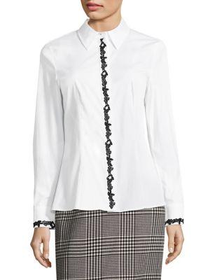 Norreysa Lace-Trim Poplin Shirt by Escada