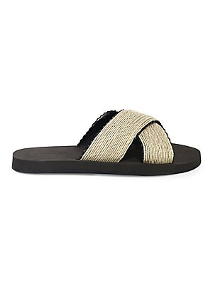 Image of Summer-chic hemp slide with crisscross straps Hemp upper Open toe Slip-on style Leather lining Thermoplastic polyurethane sole Made in Italy. Men's Active - Swim Lifestyle. Dan Ward. Color: Ivory. Size: 42 (9).