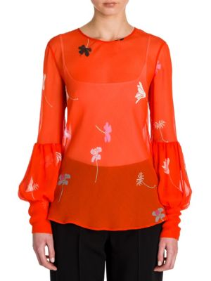 Floral-Print Silk Blouson Sleeve Blouse by Giorgio Armani