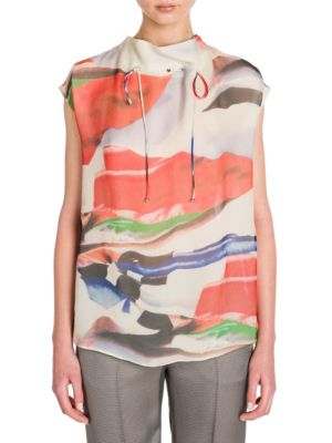 Printed Silk Tie-Thru Blouse by Giorgio Armani