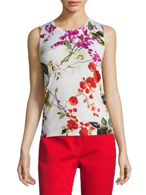 Sefla Floral-Print Wool Shell by Escada