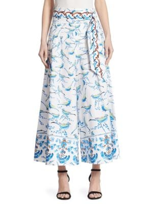 "Image of Cotton wide leg trouser in tropical bird print. Belted waist. Side seam pockets. Concealed back zip closure. Pull-on style. Rise, about 9"".Inseam, about 28"".Cotton. Dry clean. Imported. Model shown is 5'10"" (177cm) and wearing US size 4."