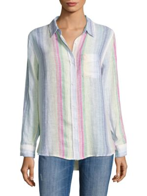 Charli Linen Rainbow Striped Shirt by Rails