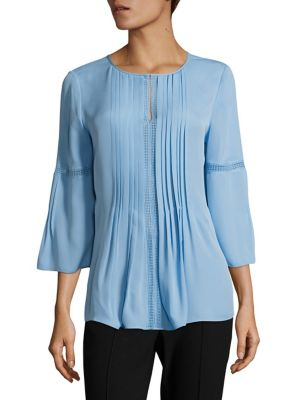 Orion Pleated Silk Blouse by Elie Tahari