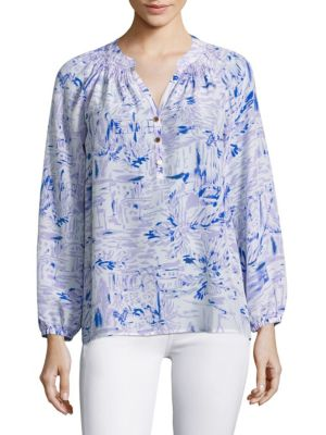 Elsa Silk Long Sleeve Blouse by Lilly Pulitzer