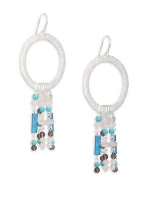 "Image of Dreamcatcher-inspired drop earring with beaded fringe. Turquoise. Smoky topaz. Glass. Silvertone.1.5""W x 3.5""L.Ear wire. Made in USA."