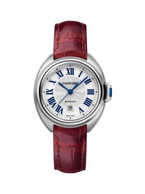 Cartier Clé de Cartier Stainless Steel & Red Alligator-Strap Watch/31MM