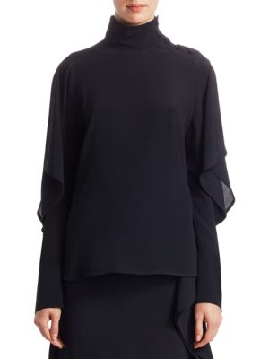 Ruffle Sleeve Button-Detail High-Neck Blouse by Marni