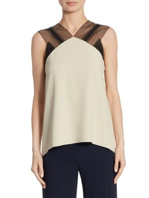 Dave Lace-Trim Crepe Top by Roland Mouret