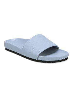 Gavin Leather Slides, Ice Blue