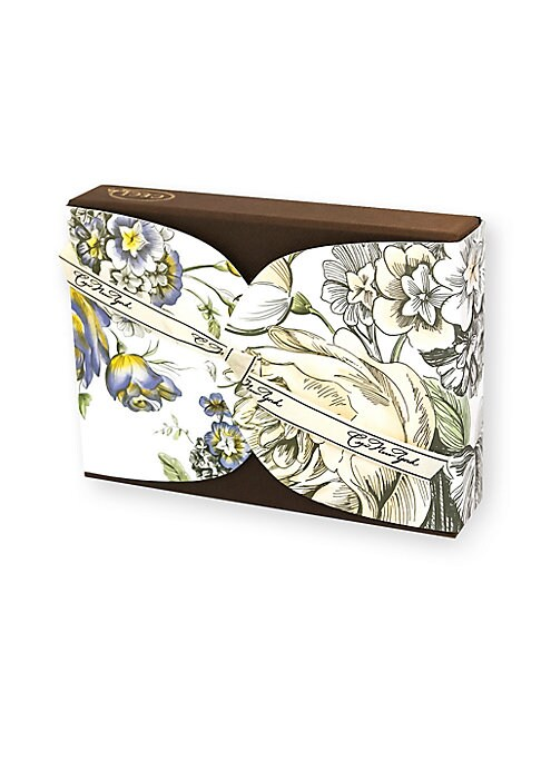 """Image of Flora embodies the sophisticated beauty of a fragrant summer garden. Includes: 12 note cards and envelopes.4 designs.4""""W x 6""""L.Made in USA."""