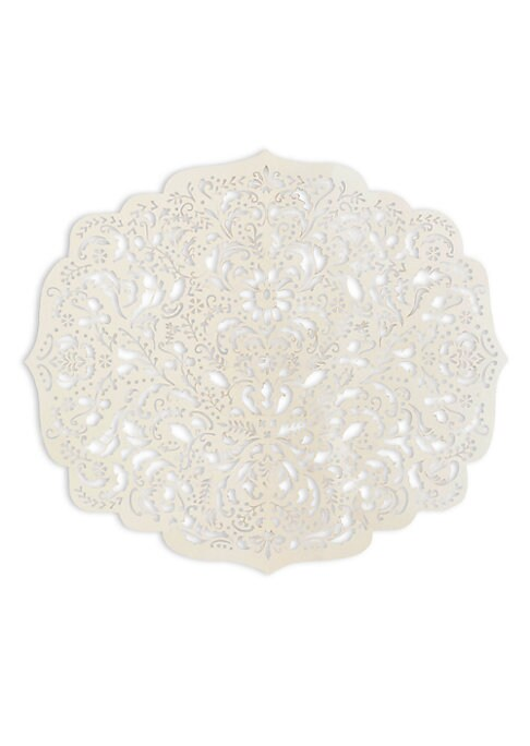 """Image of Elegant laser-cut damask reusable paper placemats. Set of eight.15.5""""W x 13.5""""L.Paper. Made in USA."""