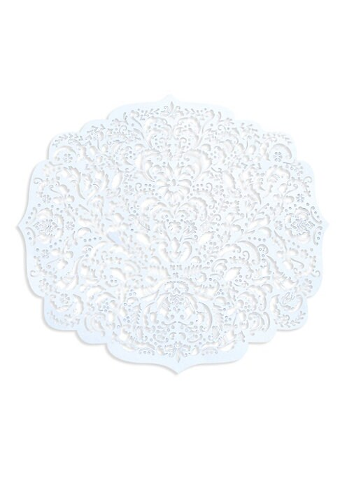 """Image of Elegant laser-cut reusabledamask paper placemats. Set of eight.15.5""""W x 13.5""""L.Paper. Made in USA."""