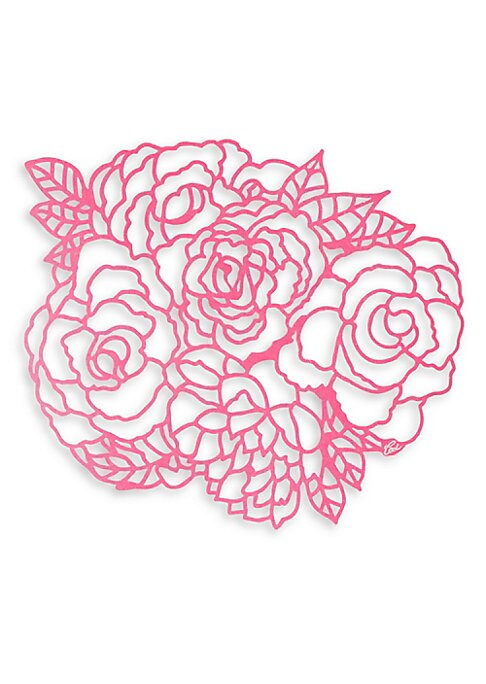 """Image of Blooming bouquet of peonies reusable placemats in laser-cut design. Set of eight.16.5""""W x 13.5""""L.Reusable. Paper. Made in USA."""