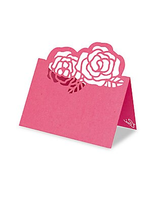 "Image of Laser-cut peonies top folded place card. Set of 8 3.5""W x 2.5""H Paper Made in USA. Gifts - Books And Music. Ceci New York. Color: Pink."