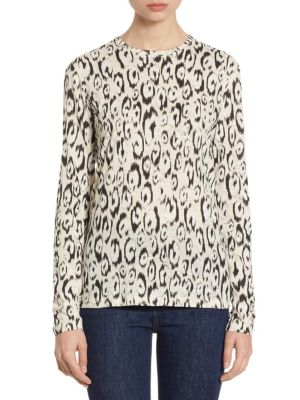 Leopard-Print Cotton Long Sleeve Tee by Proenza Schouler