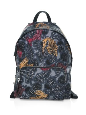 "Image of .Classic backpack featuring allover graphic print. .Top handle. .Adjustable shoulder back strap. .Top zip closure. .One outside zip pocket. .11.5""W x 15.75""H x 6""D. .Nylon. .Made in Italy. ."