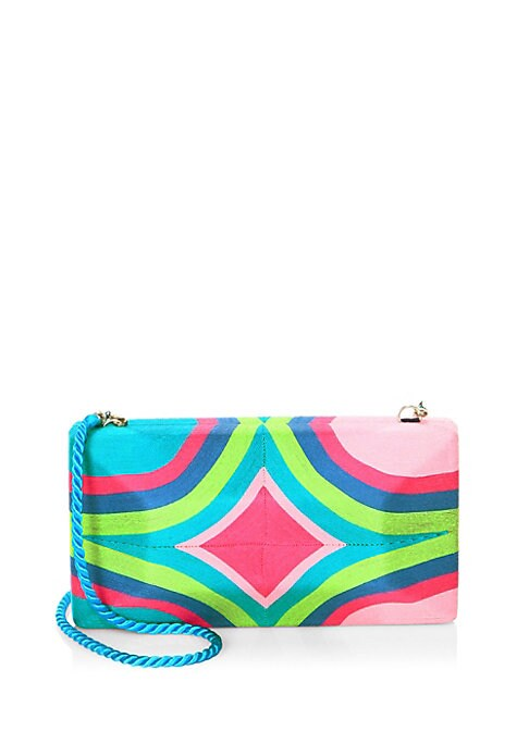 "Image of Convertible box clutch showcases a rainbow shell. Removable shoulder strap. Frame closure. One inside slip pocket.9"" W x 5"" H x 3"" D.Cotton. Imported."