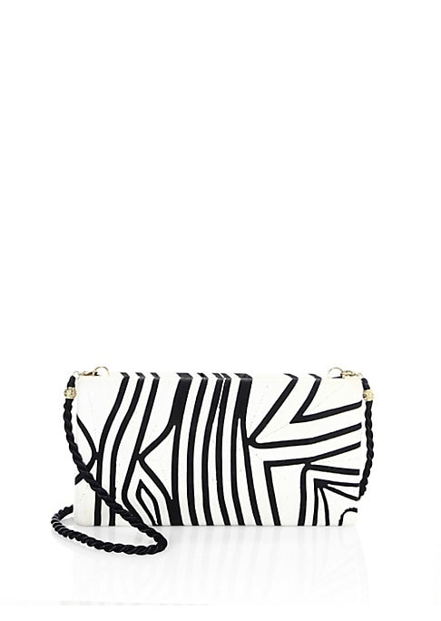 """Image of From the Tropical Edge collection. Convertible box clutch styled in a contrast design. Removable crossbody chain, 40"""" drop. Magnetic top closure. Goldtone hardware. One inside open pocket. Lined.9"""" W x 5"""" H x 3"""" D.Cotton/silk. Imported. Includes an info c"""