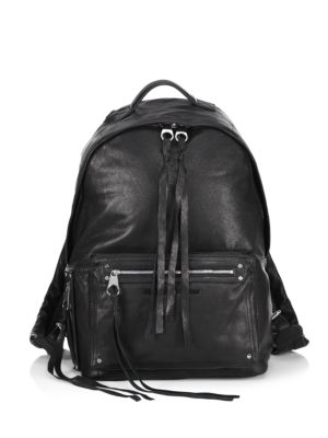 "Image of .Backpack crafted in leather. .Top handle. .Adjustable backpack straps. .Zip closure. .One main compartment. .One interior zip pocket. .One exterior zip pocket. .Cotton lining. .15""W x 17""H x 6""D. .Leather. .Imported. ."