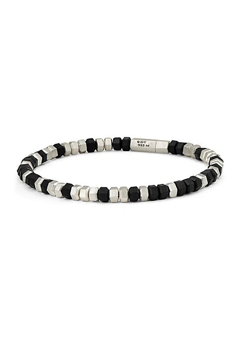"Image of Sterling silver bracelet featuring metallic beads. Width, about 0.25"".Sterling silver. Made in Italy."