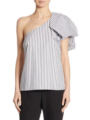Bow One-Shoulder Striped Top by Scripted