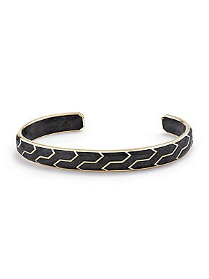 """Image of 18K yellow gold cuff bracelet with geometric design 18K yellow gold Width, about 0.33"""" Slip-on style Made in USA. Men Accessories - Jewelry. David Yurman. Size: Medium."""