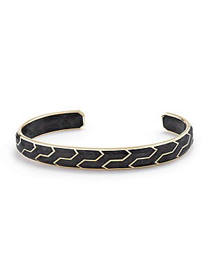 "Image of 18K yellow gold ring with geometric design 18K yellow gold/forged carbon Width, about 3.25"" Slip-on style Made in USA. Men Accessories - Jewelry > Saks Fifth Avenue. David Yurman. Size: Large."