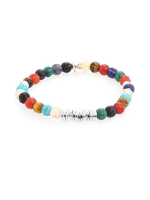 """Image of Bracelet featuring colorful beads and silver discs. Sterling silver. Diameter, about 3"""".Made in UK."""