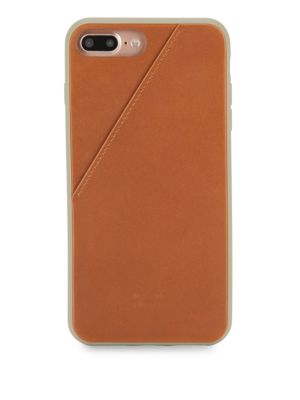 Leather Iphone 7+ Card Case, Taupe