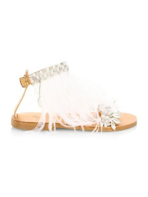 ELINA LINARDAKI Mon Cherie Feather Sandals in White Multi