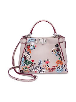 Fendi - Peekaboo Mini  Embroidered Leather Handbag