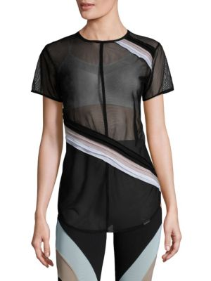 Cross Cut Striped Mesh Top by KORAL