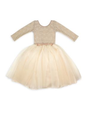 Image of Elegant pair of lace-adorned bodysuit and fluffy skirt with satin bow detail adorns your little one. Polyester/nylon/spandex. Hand wash. Imported. BODYSUIT. Scoopneck. Long sleeves. Pull-on style. SKIRT. Gathered waist.