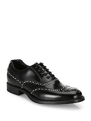Prada. Studded Leather Wingtip Oxfords